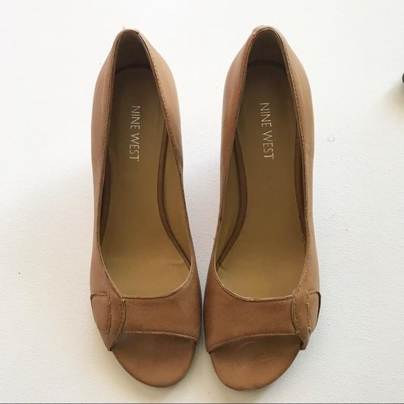Nine West Shoes - Nine West Tan Peep Toe Heeled Wedges Size 6.5